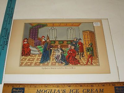 Rare Antique Orig VTG 1868 Queen of Naples Visits Pope Clement At Rome Art Print