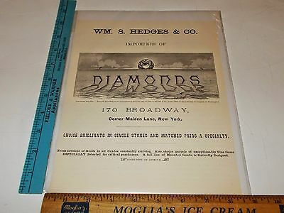 Rare Antique Orig VTG WM. S. Hedges & Co. New York Diamond Jewelry Ad Art Print