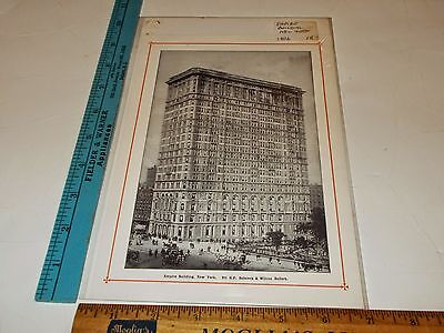Rare Antique Original Vintage 1906 Empire Building Manhattan NY Art Print
