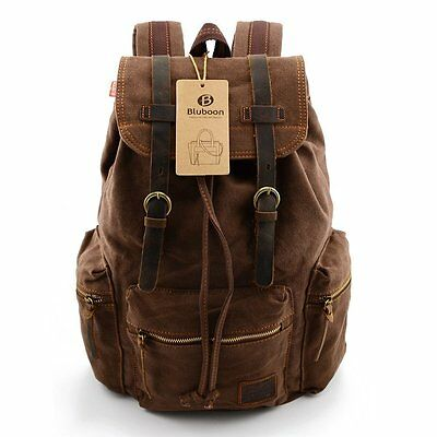 VINTAGE MEN CASUAL Canvas Leather Backpack Rucksack Bookbag (Coffee ... d9cce86913