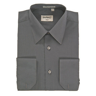 Modern Fit Mens Charcoal Dress Shirt Convertible Cuff Spread Collar Gianfranco