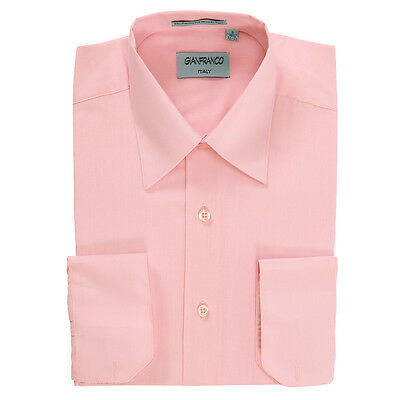 Modern Fit Men's Pink Dress Shirt Convertible Cuff Spread Collar By Gianfranco