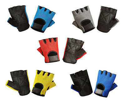 Leather Mesh Fingerless Weight Lifting Exercise Gym Wheelchair Gloves