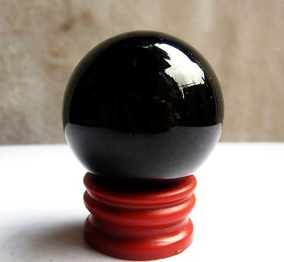 90-94g Natural Black Obsidian Sphere Large Crystal Ball Healing Stone+Stand 40mm