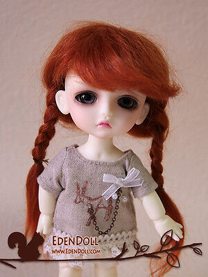 """[EDEN] 5~6"""" Carrot red two side braid mohair wig Lati Yellow 1/8 dollfie 14cm"""