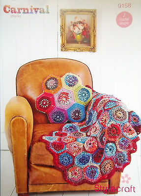 Stylecraft Chunky Crochet pattern Hexagon Throw Aran and Chunky Cushion 9158