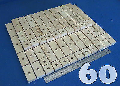 60 Large Natural Wooden Blocks Planks Bundle Set Parrot Cage - Eco Play Toys Lot
