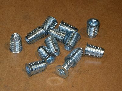 Threaded Inserts - For Wood - Zinc Alloy - Flanged - 12 pieces