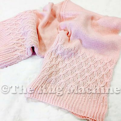 CHARLIE KIDS PINK KNITTED COZY SOFT THROW WRAP BABY BLANKET 76x100cm **NEW**
