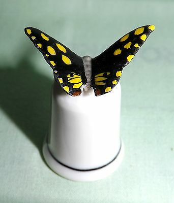Klima Porcelain Black Butterfly with Yellow Spots on Thimble K409