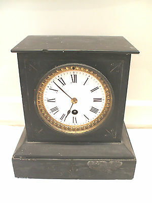 "French Marble Case Gilded Enamelled Face Timepiece Mantle Clock 9""H 8.5""W 5.25""D"