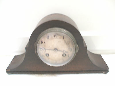 Rare small French Napoleon Hat Oak Case Platform Movement Striking Mantle Clock