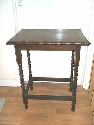 "Edwardian Dark Oak Table With Barley Twisted Legs 28.5""H 24""L 18""W"