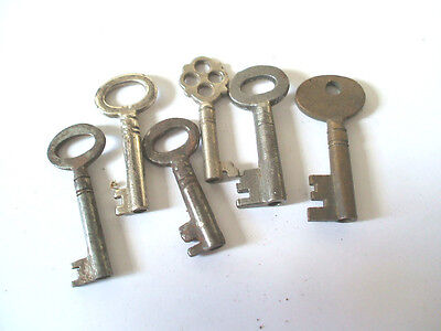 "Collection of Six Vintage Cabinet Keys 1""Long"