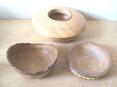 "Collection Of Three Wooden Pots 4.5"" 5"" & 7""Diameter"