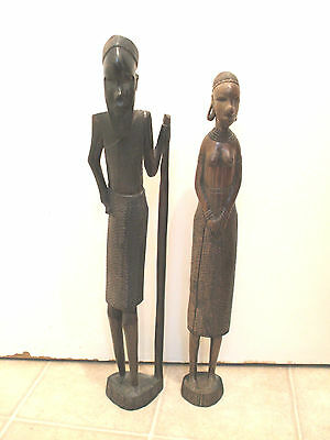 """Carved Ebony African Tribal Man And Woman Carved Figures 18""""High"""