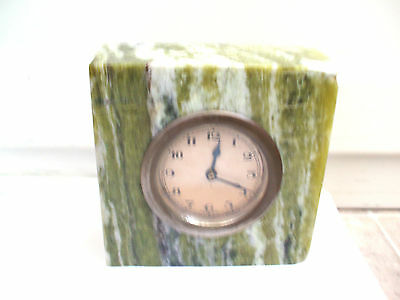 "Attractive Green Marble Case Winding Movement Mantle Clock in VGC  4""H 4""W 2""D"