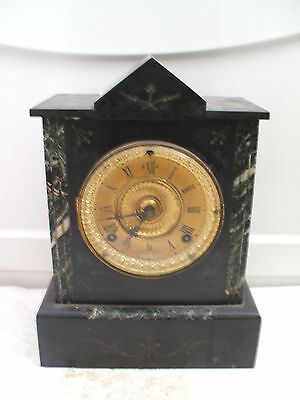 "Ansonia Victorian American Marble Case Gilded Face Striking Mantle Clock 12""H"