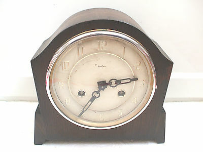 "Art Deco Bentima Oak Case Coroner Striking Movement Mantle Clock 9""H 9""W"