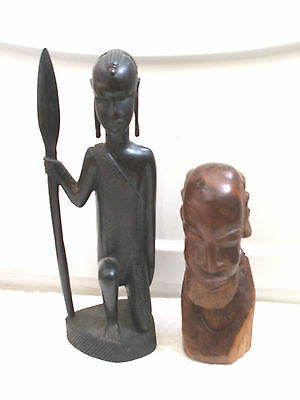 """Carved Wooden Ebony Female Figure in Tribal Dress 13""""H With Carved Bust 9""""H"""