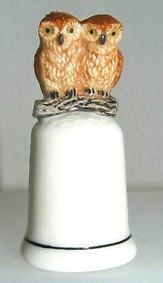 Klima Porcelain Owl Couple on Thimble Brown K693