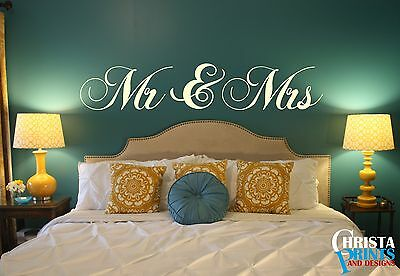 Couple Wall Words Lettering Quote Decal Sticker Rustic Decor AND MRS MR