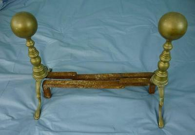 Pair Old Brass Round Top Andirons  #15E004