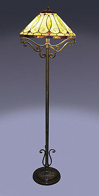 """Tiffany Style Stained Cut Glass Arroyo Floor Lamp 16"""" Shade"""