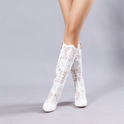 Handmade White Floral Lace Bridal Boots High Heel Wedding Prom Shoes UK3-6.5