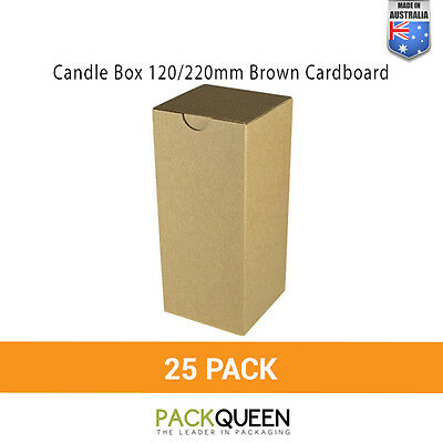 25 x Candle Box 120/220mm Brown Cardboard Candle Gift & Favour Box