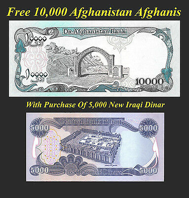 Iraqi Dinar 5000 + Free 10000 Afghanistan Afghani Afghanis With Dinar Purchase