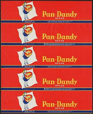 Vintage bread wrapper PAN DANDY girl picture Adams Portsmouth Ohio new old stock