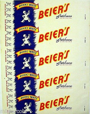 Vintage bread wrapper BEIERS WHITE with baker Elgin unused new old stock n-mint