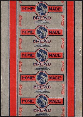 Vintage bread wrapper HOME MADE woman pictured Lawrence Massachusetts unused