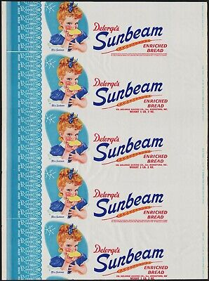 Vintage bread wrapper DELORGES SUNBEAM Miss Sunbeam girl picture Biddeford Maine