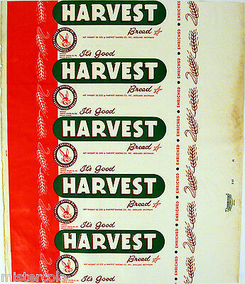 Vintage bread wrapper HARVEST dated 1952 bunny pictured Midland Michigan unused