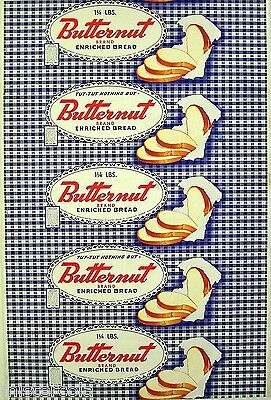 Vintage bread wrapper BUTTERNUT ENRICHED Kansas City Missouri new old stock nrmt