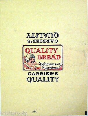 Vintage bread wrapper CARRIERS QUALITY BREAD girl pictured unused new old stock