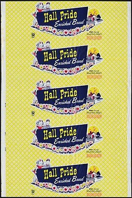 Vintage bread wrapper HALL PRIDE dated 1957 with kids Cleveland OH new old stock