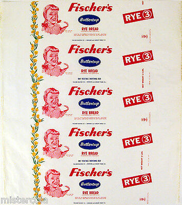 Vintage bread wrapper FISCHERS RYE 3 dated 1949 girl pictured Asbury Park unused