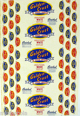 Vintage bread wrapper GOLDEN CRUST WHITE Bakersfield California new old stock
