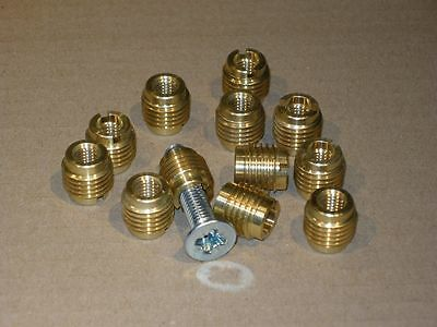 Threaded Inserts - USA Made - Solid Brass - 12 pieces - 9 Sizes