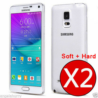 2 X Case Ultra Slim Clear Cover N9100 For Samsung Galaxy Note 4 (Soft + Hard)