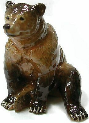 Northern Rose Miniature Porcelain Animal Figure Grizzly Bear Sitting R039