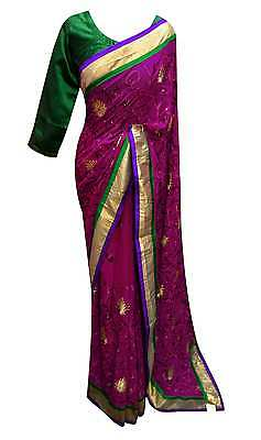Indian Saree mit Zari Faden Steine Stickerei Bollywood Party Wear Outfit 7158
