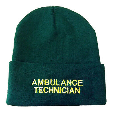 Ambulance Technician Green Woolly Hat - Paramedic Medic