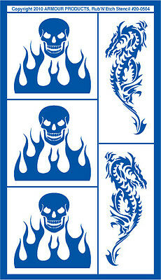 Armour Rub 'n' Etch Glass Etching Stencil Sheet ~ Skulls & Flame
