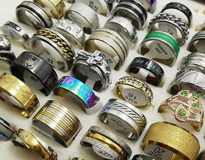 Wholesale 50 Mix stainless steel  and alloy Fashion Rings Men Women Jewelry