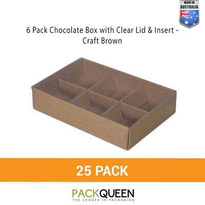 25 x 6 Pack Chocolate & Favour Box with Clear Lid & Insert Craft Brown (124 x 82