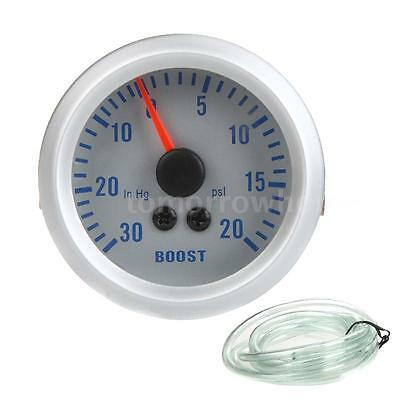 """Car 2"""" 52mm Turbo Boost Gauge Vacuum Meter 0-20 PSI Blue Light Silver For Auto"""